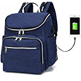 Kraptick Travel Mother Backpack Diaper Nylon Bag with Cushioned Changing Pad, Stroller Straps & Wet Clothes (Blue)