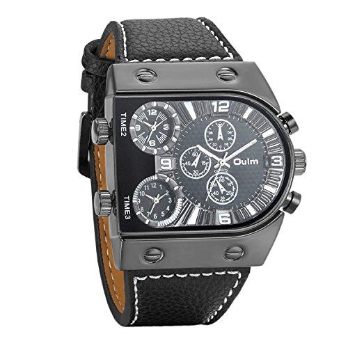 Montre Homme Avaner Montre Bracelet Quartz Cadran Numérique --Affichage Analogique -- Bracelet en PU Cuir Verre Minéral Renforcé Bracelet Montre Noir