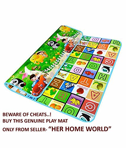 Her Home 100% Waterproof, Double Side Baby Play & Crawl Mat (Large- 6'X5')