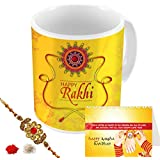Aart Store Happy Rakhi Raksha Bandhan Gift For Brother/Sister Printed Mug, Rakhi, Roli, Chawal And Greeting Card