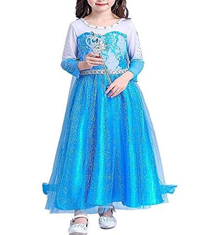 Mädchen Kleider Schneeflocke Prinzessin Süßer Ausschnitt Kostüme Weihnachten Halloween
