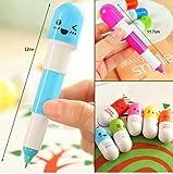 Eplayer® Penna a capsula, retrattile, 6 pezzi, a sfera, telescopica, per bambini e ragazzi o per uso ufficio