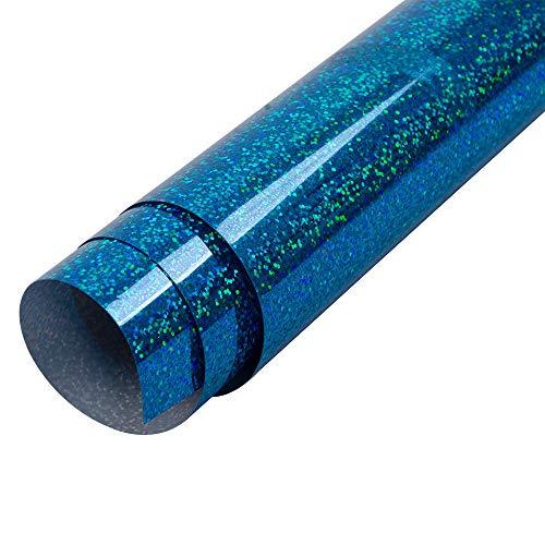 HOHO Holographisches Laser Wärmeübertragung Vinyl glänzend Farbe HTV Drücken Druck, Papier, Folie, Tshirt DIY Stoffe 50cmx60cm hellblau - T-shirt Folie Drucken
