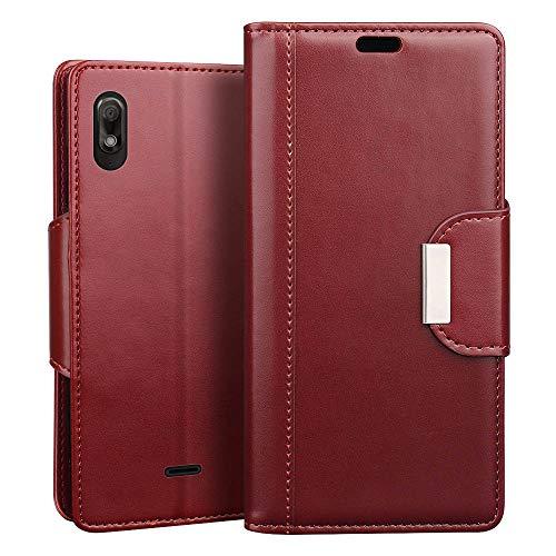 RIFFUE Wiko View 2 Go Hülle, Handyhülle Wiko View2 Go, Retro PU Leder Flip Case Brieftasche mit Magnetverschluss, Standfunktion, Ultra Weiche Klapphülle für Wiko View2 Go (5,93 Zoll) - Rot