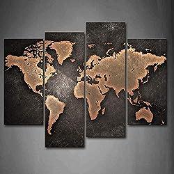 Général Monde Carte Noir Contexte Peinture murale d'art L'image imprimée sur toile Art Photos d'œuvres d'art pour le bureau à domicile Décoration moderne