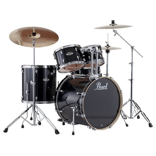 pearl-export-exx725-drum-kit-with-cymbals-jet-black