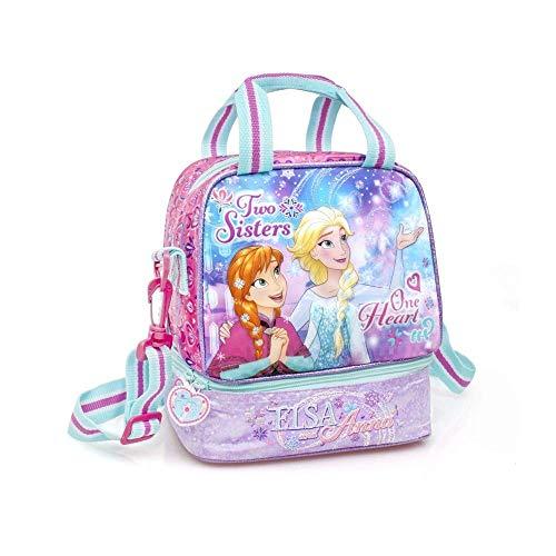 Borsa frigo 3d frozen elsa anna disney 2 scomparti tempo libero viaggio scuola bambina 22 cm. - 57218