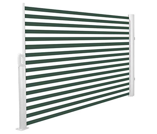 Primrose 3 x 1.6m Store Latéral Paravant Coffre Entier Manuel (Rayures Vertes et Blanches)