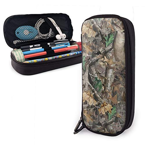 GLPYHOO Realtree Camo Wallpapers Large Capacity Pencil Case PU Leather Functional Stationery Bags -