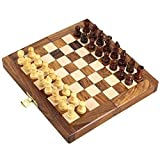 Fasherati Folding Magnetic Travel Chess Board Set Wooden Game Handmade, Classic Game of Brilliance, Small Chess Pieces, 7 Inches