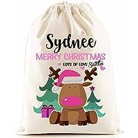 Personalised Santa Sack (Reindeer Girls Christmas) (Pink)