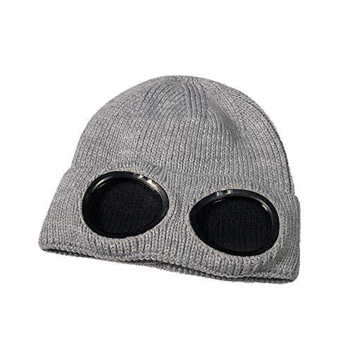 ODJOY-FAN Frau Draussen Warm Absicherungskappe Stricken Wollmütze HipHop Brille Mützen Mode Behalten Warm Winterhüte Gestrickt Wollemützen Casual Säumen Hut (Grau,1 PC)