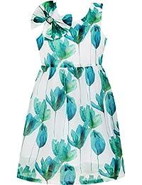 Sunny Fashion - Vestido con estampado floral para niña verde