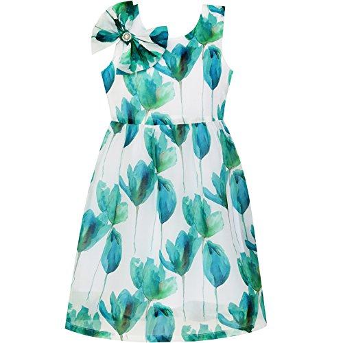(Sunboree Mädchen Kleid Beaded Bogen Binden Perle Zeichnung Blumen Muster Gr.158)
