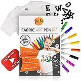 4 Teile Stoffstifte für Jungen und Mädchen 8 Permanent Textilmarker & Anleitung DVD Plus T-Shirt und aufbügelbare Buchstaben (A-Z)