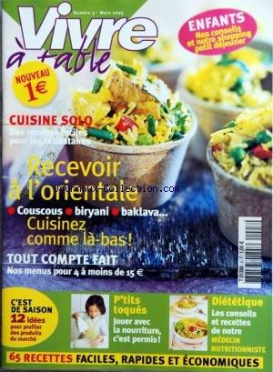 VIVRE A TABLE [No 3] du 01/03/2005 - ENFANTS / NOS CONSEILS ET NOTRE SHOPING PETIT DEJEUNER - CUISINE SOLO / POUR LES CELIBATAIRES - RECEVOIR A L'ORIENTALE - NOS MENUS PUR 4 A MOINS DE 15 EUROS - P'TITS TOQUES / JOUER AVEC LA NOURRITURE C'EST PERMIS - DIETETIQUE / LES CONSEILS ET RECETTES DE NOTRE MEDECIN - 65 RECETTES FACILES par Collectif