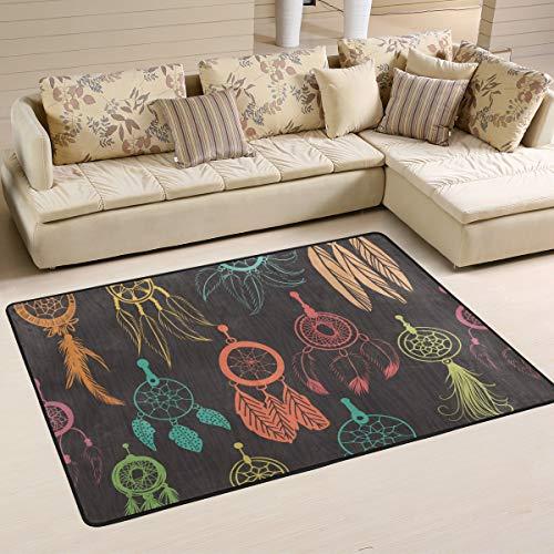 JSTEL - Alfombra Lavable, Suave, diseño de atrapasueños, 90 x 60 cm, cómoda Alfombra para salón o Dormitorio, 90 x 60 cm