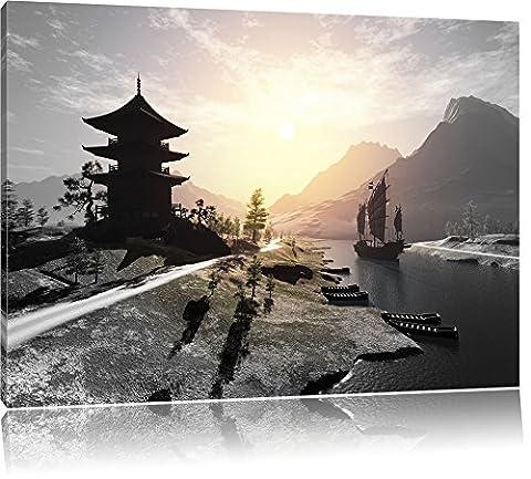 impressionnant temple asiatique rivière B & W détail, Taille: 60x40 sur toile, XXL énormes photos complètement encadrée avec civière, imprimé Art mural avec cadre moins cher que la peinture ou la peinture à l'huile, pas poster ou une affiche