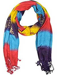 Famacart Women's Multi Color Stole Leheriya Stoles Viscose (Color Vary)