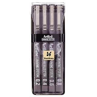 Artline Drawing System Zeichen-Set Strichbreiten 0,2/ 0,4/ 0,6/0,8mm in Etui 4Stück Schwarz