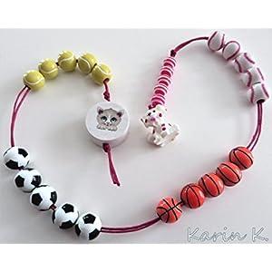 Sportive Rechenkette schlicht einsträngig in Weiß, Gelb, Orange, Blau, Rot, Beige und Schwarz