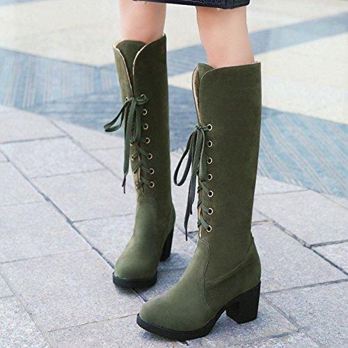 Bottes Lacets Coolcept Green 8wuc5 Knee Femmes EBwq6UCd