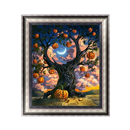 isse Diamant DIY Kreuzstich handgefertigt Gemälde Home Decor, #1, 30*35cm (Halloween-baum Zeichnung)
