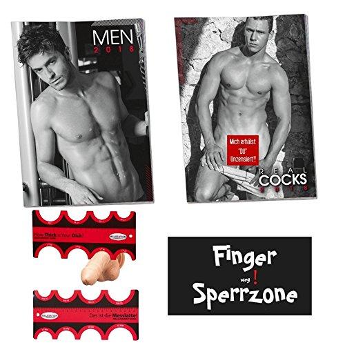 Erotik Kalender 2018 Bundle Set 2018 nackte Männer Real Cock & Sexy Men & Messlatte inkl. Magnet