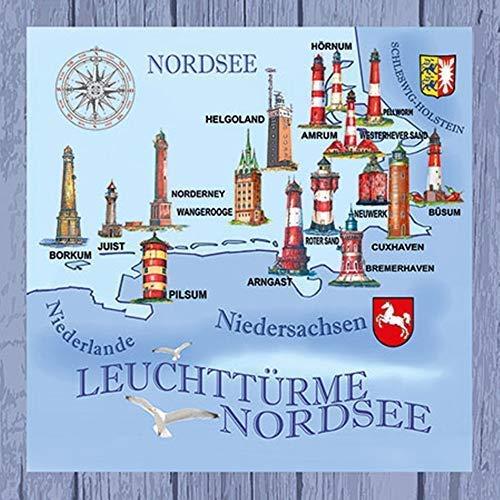 Ambiente Servietten Motiv: Nordsee - Ostsee - Leuchttürme, Cocktail 25x25cm, 20 Stück Packung -