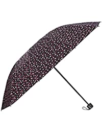 Umbrella Mart 3 Fold Digital Printed Rain Sun & UV Rays Protective Umbrella (Maroon/Multi)