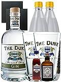 Gin-Set The Duke München Dry BIO Gin 0,7 Liter + Haymans Sloe Gin 5cl + Monkey 47 Schwarzwald Dry Gin 5cl MINIATUR + 2 x Thomas Henry Tonic Water 1,0 Liter + 2 Schieferuntersetzer quadratisch 9,5 cm + 2 x The Duke Long Drink Glas 0,3 Liter