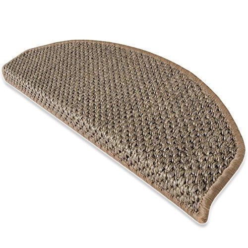 Sisal Stufenmatten mit modern-rustikaler Tiger-Eye-Struktur | beige | kombinierbar mit Läufer | 65x23,5 cm | halbrund | 1 Stück
