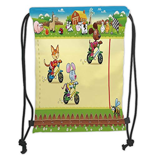 Fashion Printed Drawstring Backpacks Bags,Kids,Racing Mouse Cat and Dog on the Bike in Farm with Animal Comic Caricature Illustration,Multicolor Soft Satin,5 Liter Capacity,Adjustable String Closu -