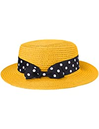 Boater Hat Sombrero de paja para mujer Bowknot Round Flat Top Brim Sombrero  de paja Summer 91cc85160b6