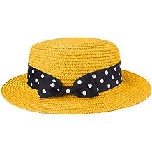 Boater Hat Sombrero de paja para mujer Bowknot Round Flat Top Brim Sombrero  de paja Summer bde059c4390