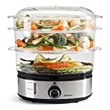 Sensio Home Stainless Steel 3 Tier Vegetable Steamer for Cooking with Timer