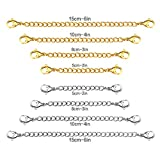 LUXUSTEEL Resizable Extender Lobster Clip Safety Necklaces Chain,Anti-allergy Stainless Steel Bracelet Extender with 8pcs/Set