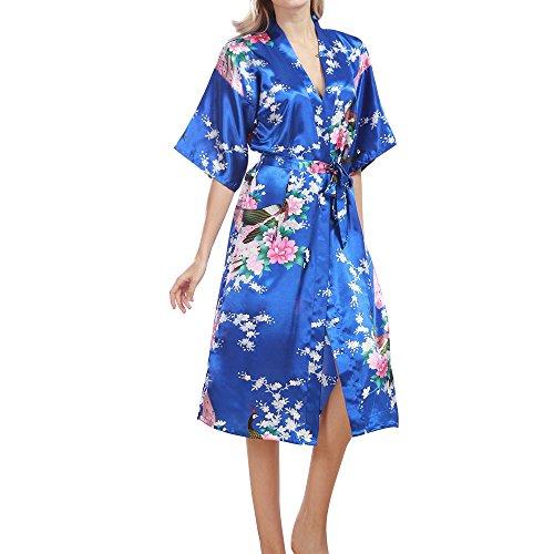 TIAQUE Damen Seide Satin Kimono Robe Blüte Pfau Nachtwäsche Sexy Long Gown Bademäntel Nachthemd (M, Schatz blau) (Japanische Cosplay Kostüme Uk)