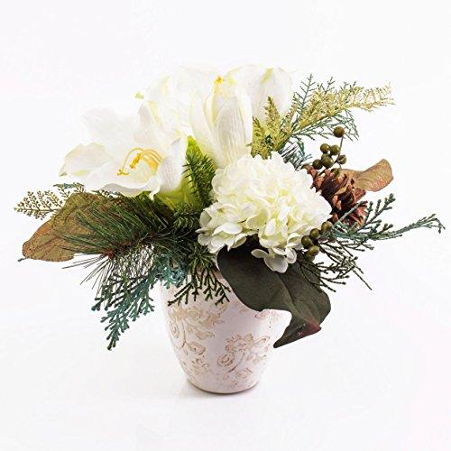 artplants - Künstliches Amaryllis-Hortensien-Arrangement im Keramiktopf, weiß, 30 cm - Weihnachts Deko/Kunst Ritterstern