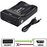 Snxiwth Scart zu HDMI Konverter 1080P Snxiwth Scart auf HDMI Konverter Audio Video Adapter SCART Eingang HDMI Ausgang für HDTV STB VHS Xbox PS3 Sky DVD Blu-ray (Nicht für 4K Geräte - Schwarz