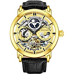 Stuhrling Original Mens Automatic-Self-Wind Luxury Dress Skeleton Dual Time Gold-Tone Wrist-Watch 22 Jewels 47 mm Stainless Steel Case Decorative Exposed Back Embossed Supple Genuine Leather Strap ...