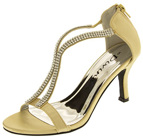 Footwear Studio Divine Damen Satin Diamante Partei Sandalen Gold EU 38