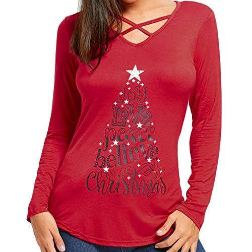 TEBAISE Weihnachtspullover Pullover Damen Sexy Oberteile Damen Herbst Schulterfrei Langarmshirts T-Shirt V-Ausschnitt ()