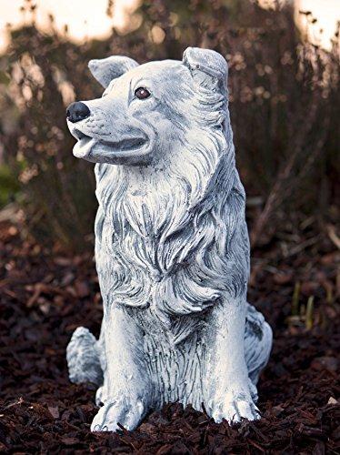 Steinfigur Hund Collie, Frost- und wetterfest bis -30°C, massiver Steinguss (Collie Hund Figur)