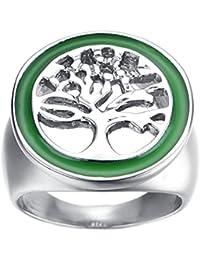 UM Joyería Hombres Acero inoxidable Ahuecar Árbol de la vida Redondo Sello Anillos Plata Verde