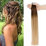 Extension Cheveux Adhesive Naturel Bande Adhesive 20 Pcs Rajout Vrai Cheveux Humain - Tape in Human Hair Extensions (#Dégradé 4+27 Châtain à Blond foncé, 18 Pouces/45cm)