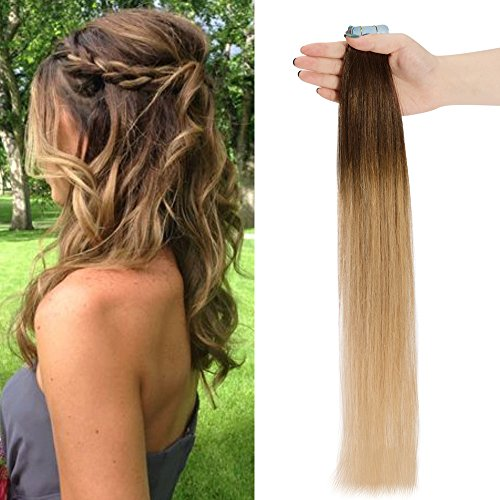 45cm extension capelli veri biadesivo meches 20 fasce con adesive 50g/set remy human hair tape on lisci umani riutilizzabile seamless, 4t27 marrone cioccolato ombre biondo scuro