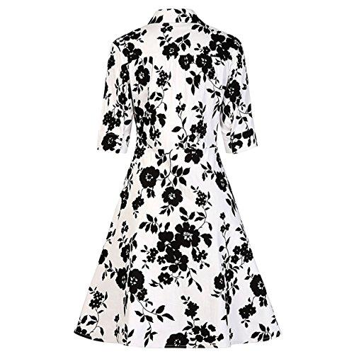 Pinkyee Damen A-Linie Kleid Blumenmuster