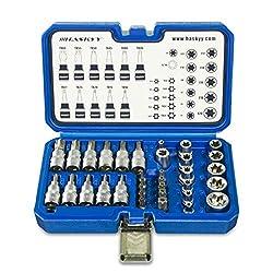 """34-Pièces Jeu Douille TORX - Jeu de clés à douille Torx externe et interne avec Entraînement de 3/8"""" (10,0 mm)de marque haskyy   Adaptateur 3/8"""" à 5/16""""    Entraînement externe Torx 3/8"""": E4, E5, E6, E7, E8, E10, E11, E12, E14, E16, E18, E20 ..."""