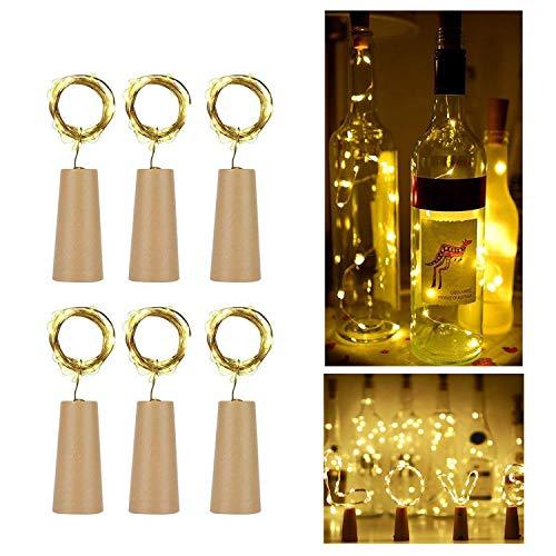 Arote Flaschenlicht 6er Set 20LEDs 2M LED Stimmungslicht deko Lichterketten Wein String Cork Form Nacht Licht batteriebetriebene Flaschen Lichter, warmweiß, Flasche DIY, Party, Dekor, Weihnachten, Halloween, Hochzeit